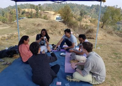 Friends playing cards on Picnic 15 March 2018