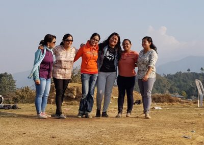 Ladies posing for group photo during our Picnic 15 March 2018, Lakure Bhanjyang