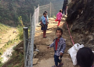 Kids going to shcool enjoying safer trails of Unnat Goreto Project, Rasuwa