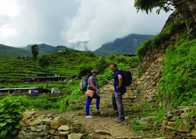 Our team members enjoying trekking of foot trail in rasuwa, unnat goreto project
